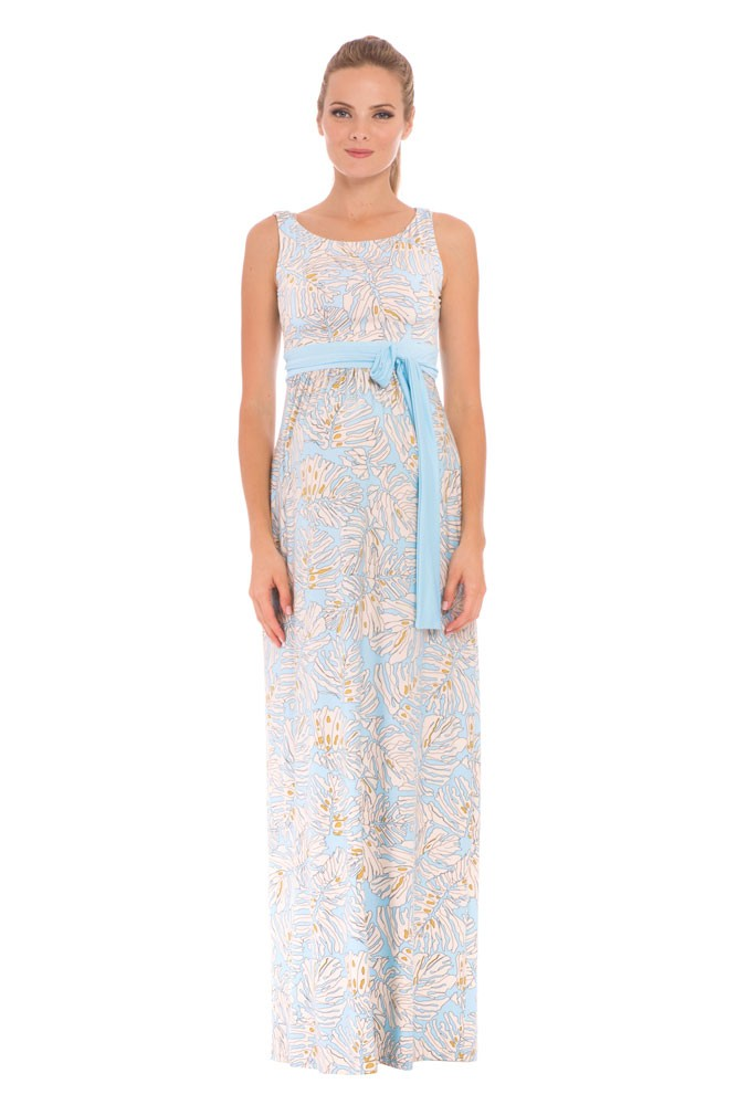Olian Sasha Maxi Maternity Dress (Blue & Ivory Leaf Print)