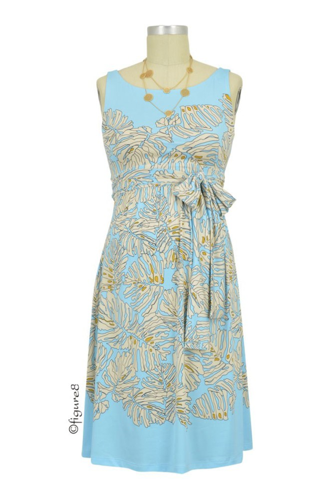 Olian Sasha Maternity Dress (Blue & Ivory Leaf Print)