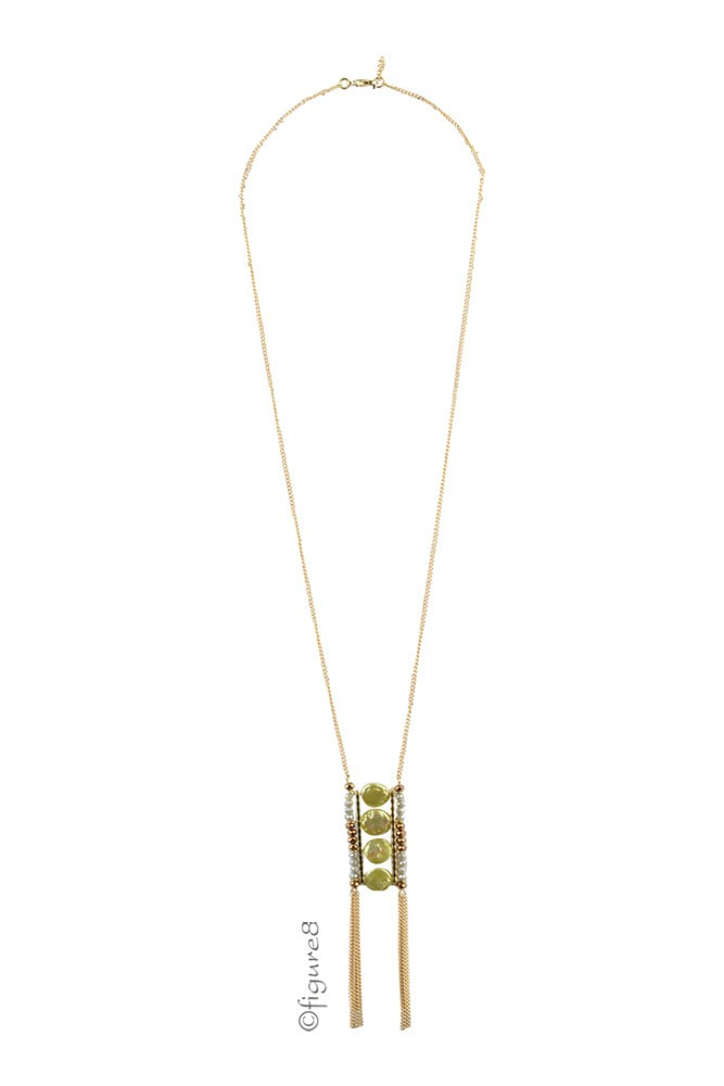 Emily Green Ladder Chain Necklace w/ Bronze Detail (Green & Bronze)