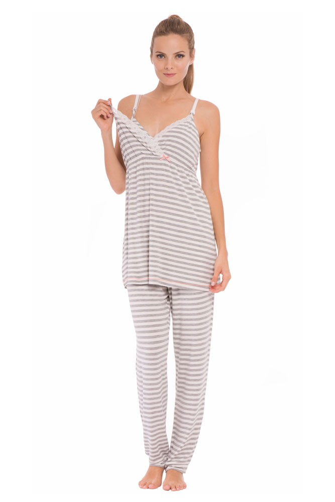Olian Sally Stripes 4-Piece Nursing PJ Set with Baby Outfit (Grey Stripes)