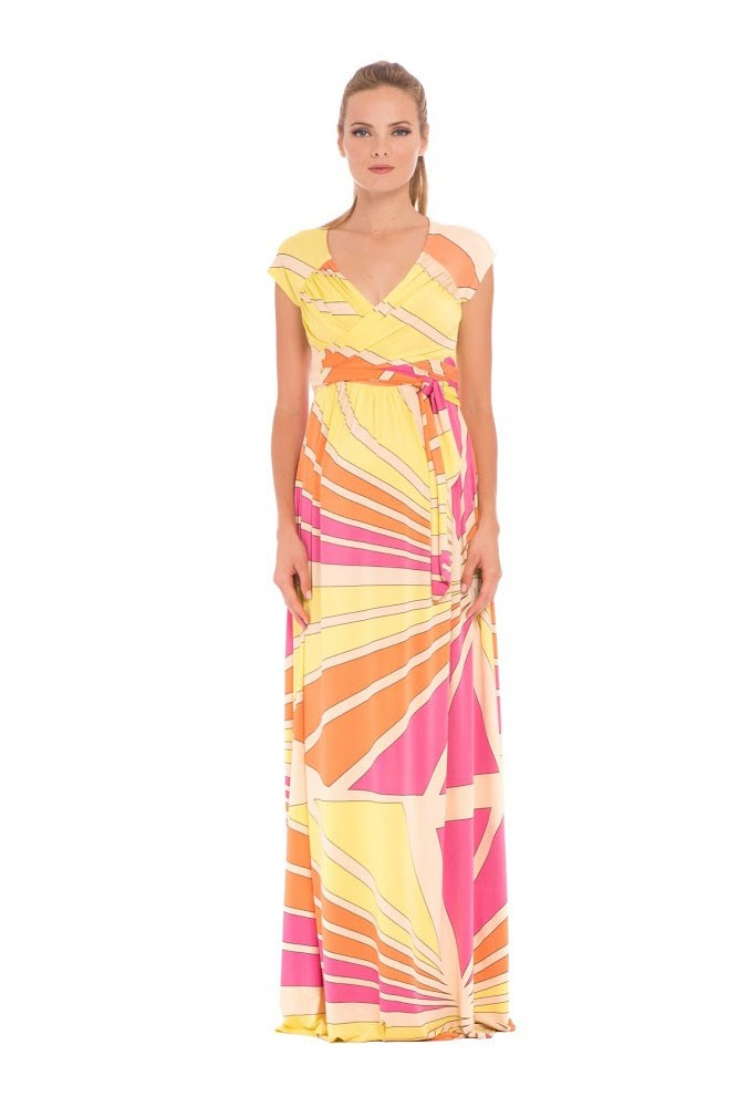 Olian Trista Maxi Maternity Dress (Abstract Print)