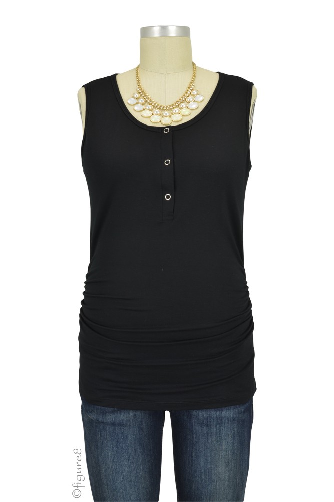 Mimi Ruched Snap Maternity & Nursing Tank (Black)