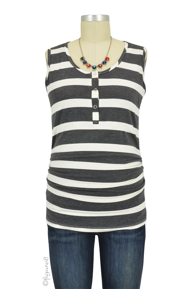 Mimi Ruched Snap Maternity & Nursing Tank (Charcoal & White Stripes)