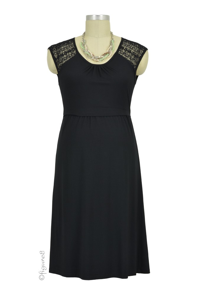 Cammie Lace Sleeve Nursing Dress (Black)