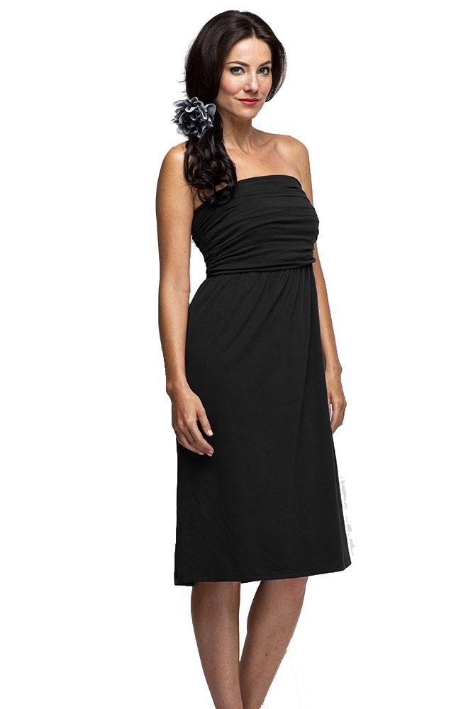 The MW Ruched Maternity & Nursing Tube Dress (Black)