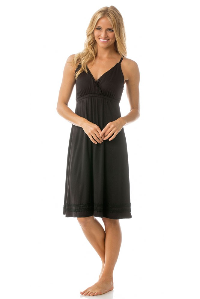 Majamas Madison Nursing Nightie (Black)