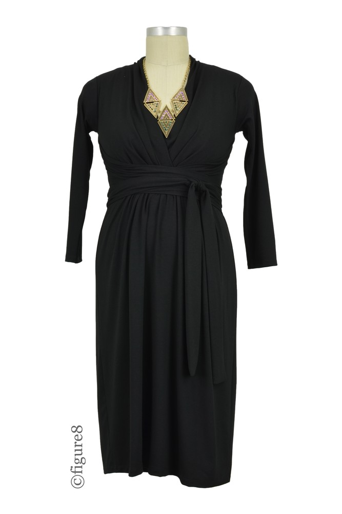 Theory Twist-Front Nursing Dress (Black)