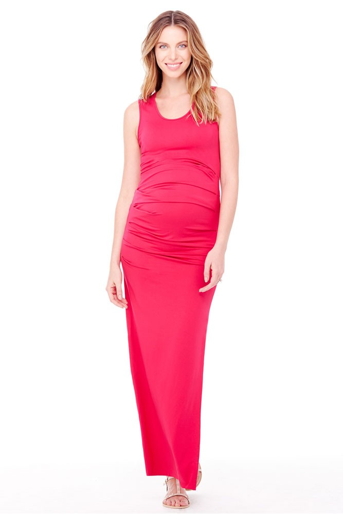 Ingrid & Isabel Pleated Tank Maxi Maternity Dress (Berry)