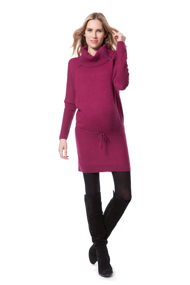 Seraphine Hudson Maternity & Nursing Sweater Tunic-Dress (Berry)