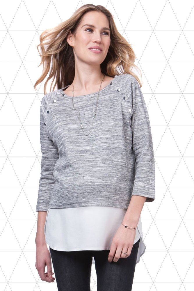 Seraphine Gloria Layered Look Maternity & Nursing Sweater (Grey/White)