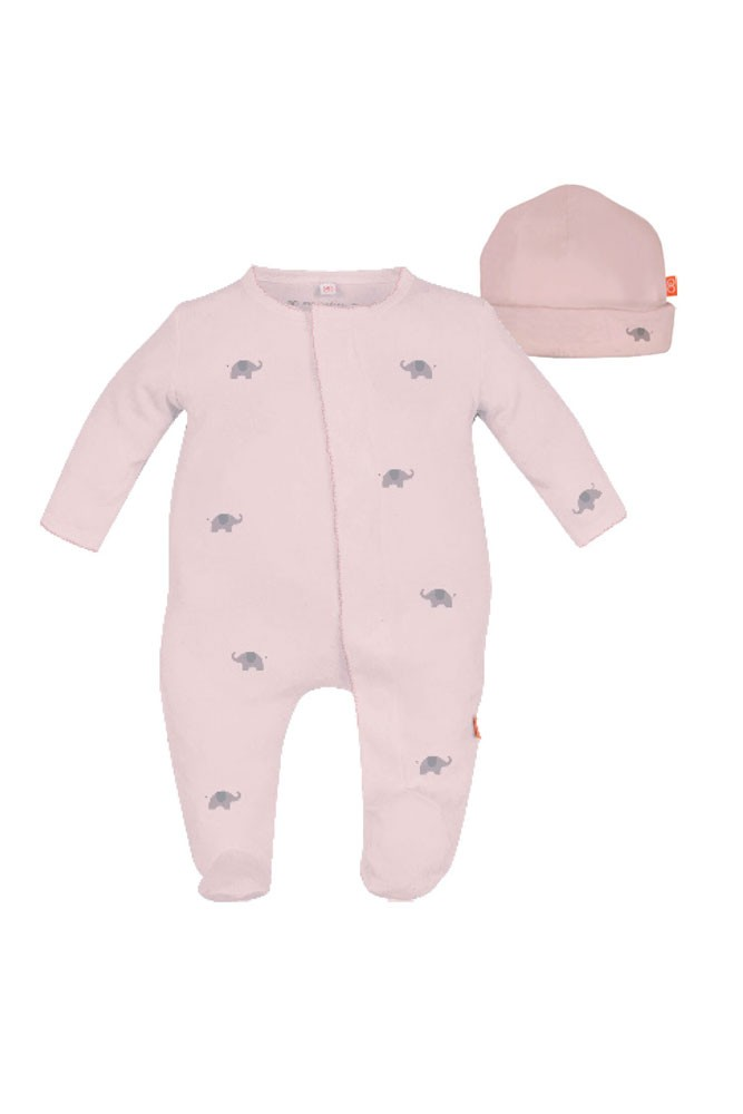 Magnetic Me™ by Magnificent Baby Cotton Darjeeling Elephant Footie & Hat Set (Pink)