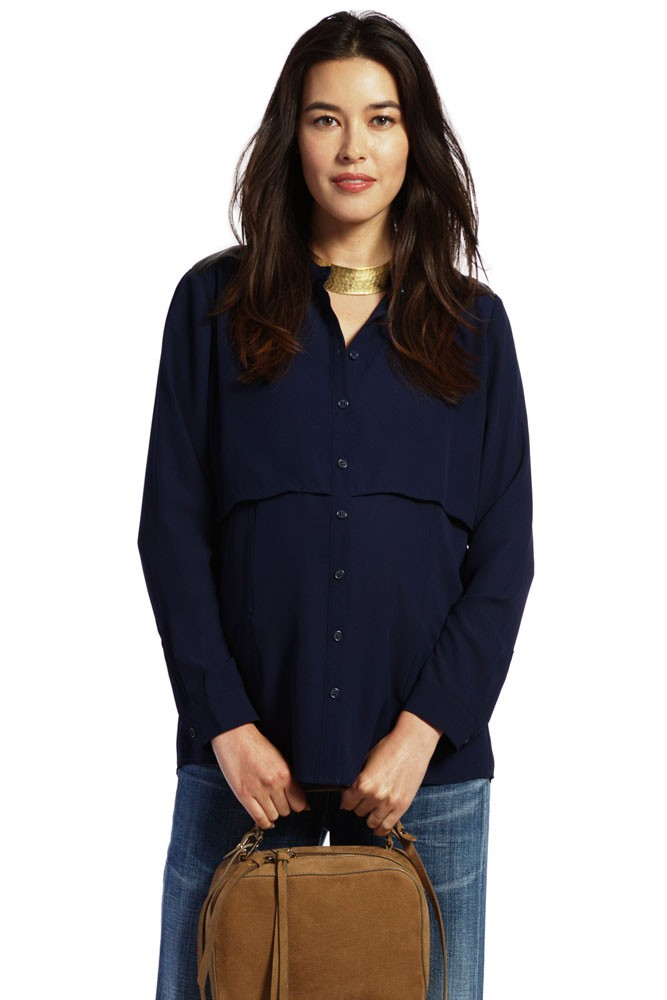 Florence Leather Detail Nursing Blouse (Navy)