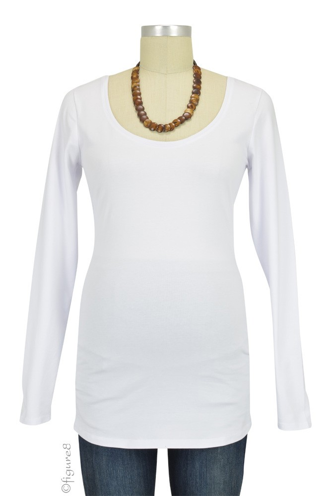Must-Have Long Sleeve Maternity Tee (White)