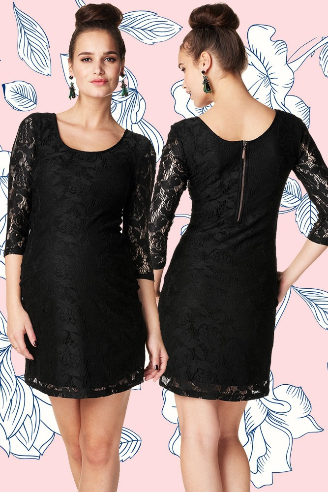 Kourtney 3/4 Sleeve Lace Maternity Dress (Black)