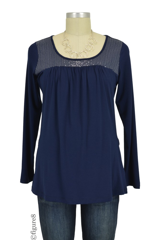 Ema Sequin Nursing Top (Navy)