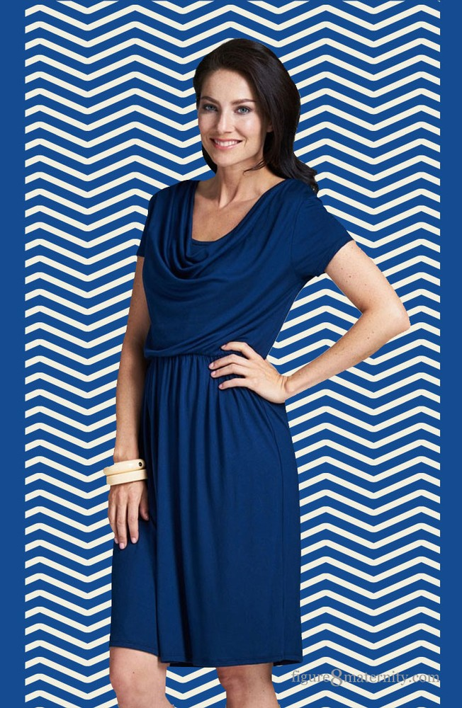 Milky Way Avery Cowl-Neck Maternity and Nursing Dress (Navy)