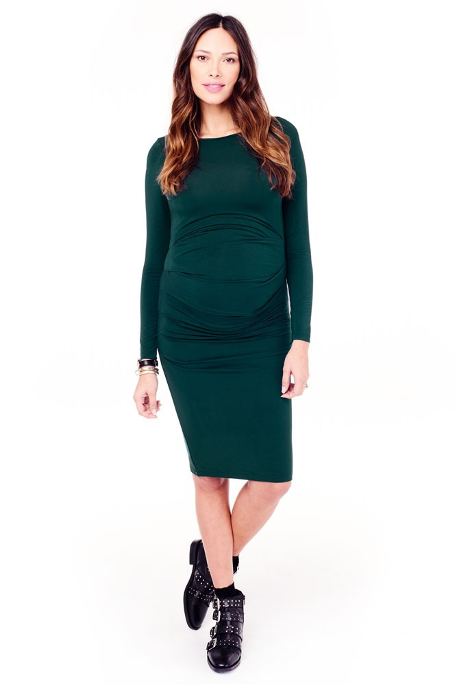 Ingrid & Isabel Long Sleeve Pleated Maternity Dress (Evergreen)