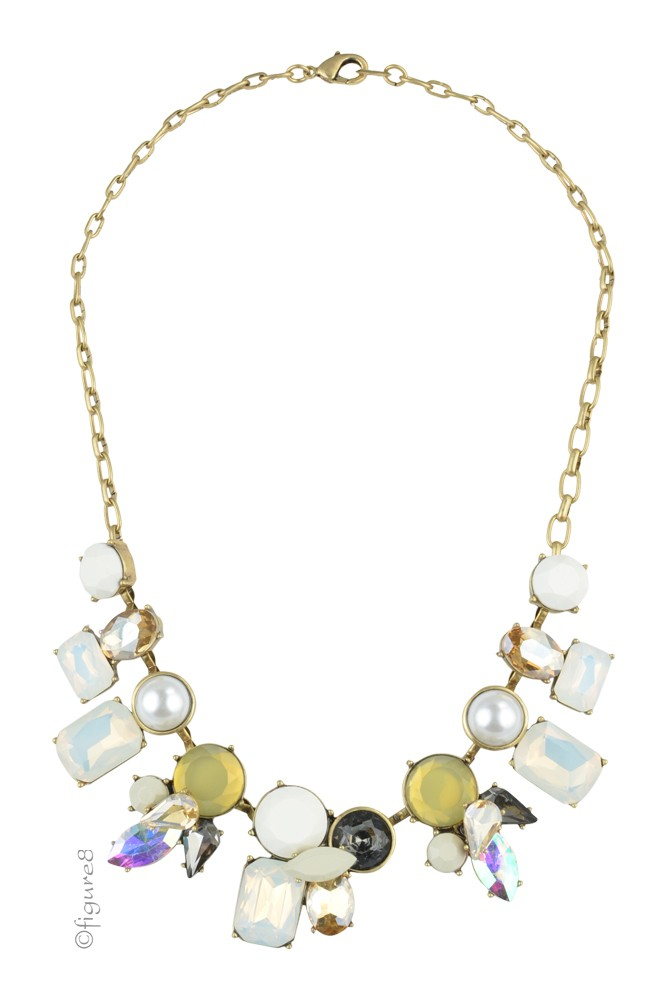 Jeweled Statement Necklace (White & Black)