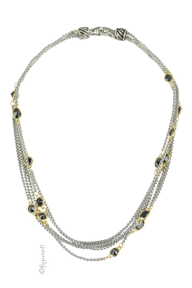 Black Eyelet Necklace on Silver Chain (Black Eyelet)
