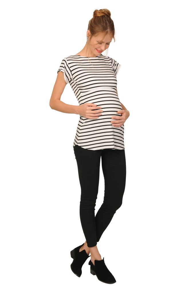 Nautical Maternity & Nursing Tee (Black and White Stripe)
