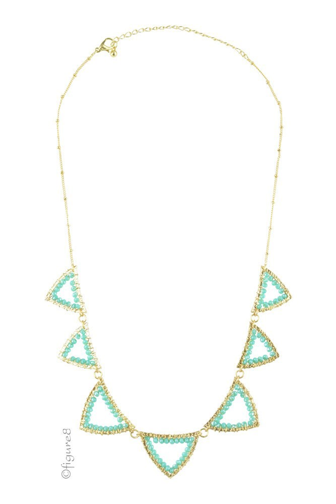 Pretty Triangle Necklace (Gold/Turquoise)