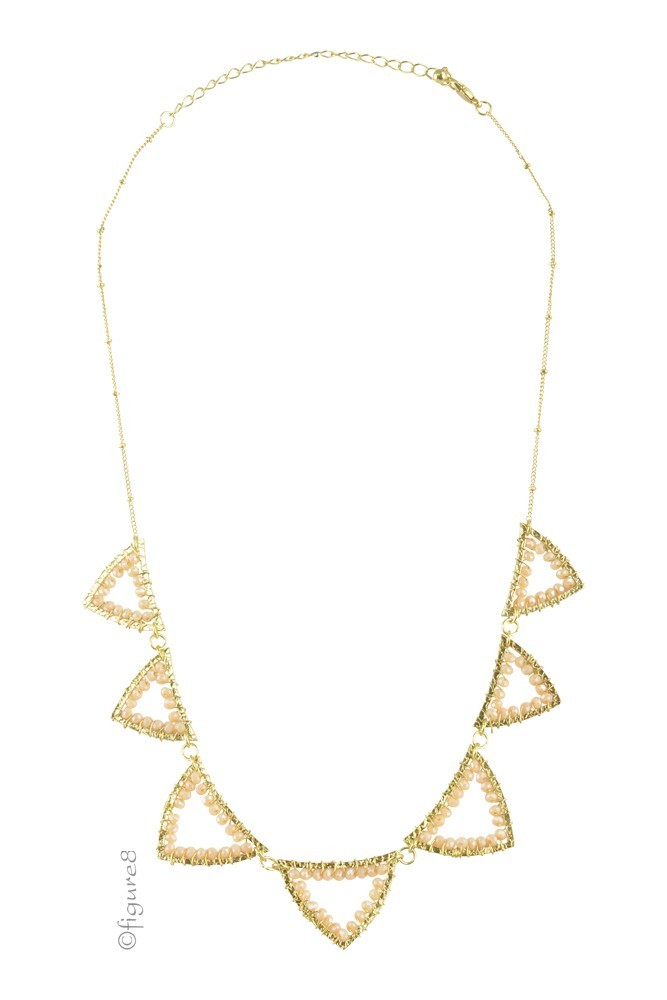 Pretty Triangle Necklace (Gold/Pink)