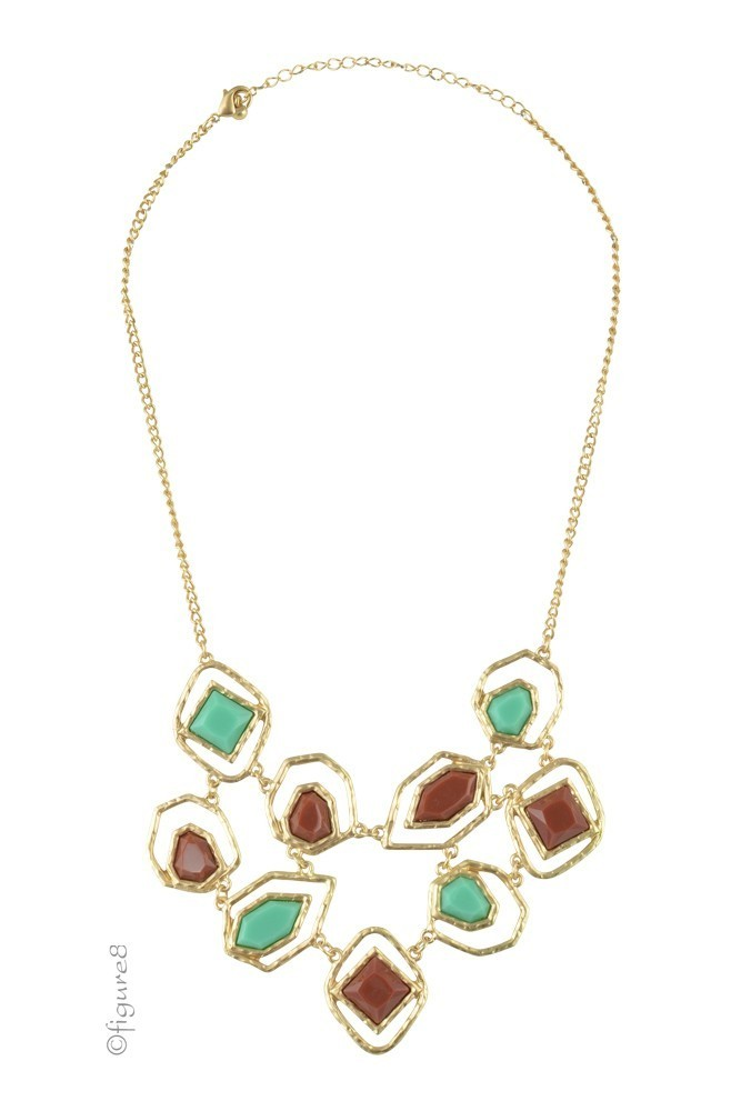 Jeweled Statement Necklace (Brown & Green)