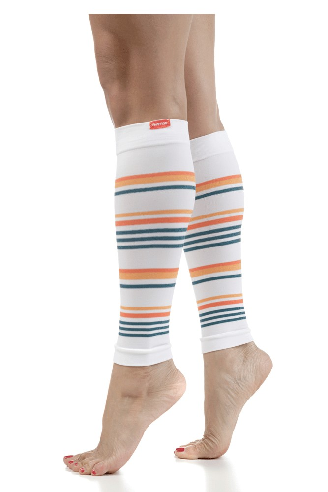 Vim & Vigr Compression Leg Sleeves (Malibu: White & Creamsicle)