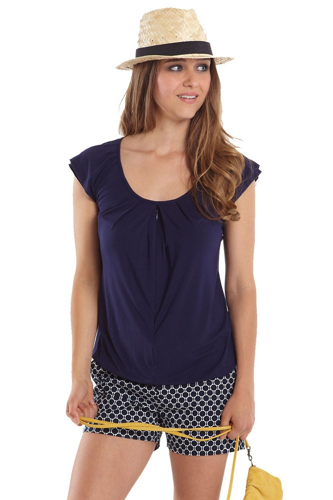 Slouchy Pleated Zip Nursing Top (India Ink)