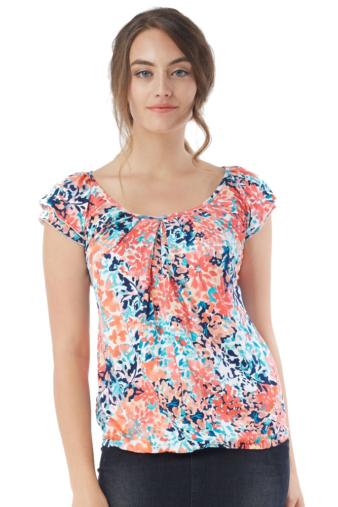 Slouchy Pleated Zip Nursing Top (Painted Dahlias)