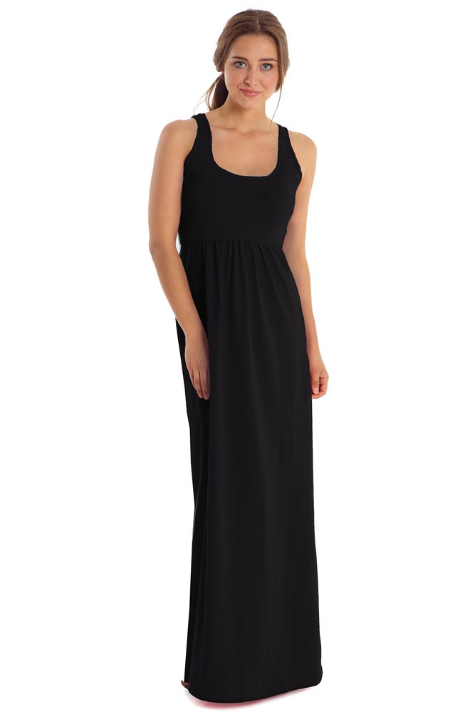 Avery Organic Cotton Maxi Nursing Dress (Black)