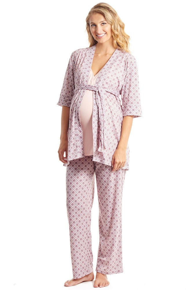 Susan 5-pc. Maternity & Nursing PJ Set with Gift Bag (Pink Blush)