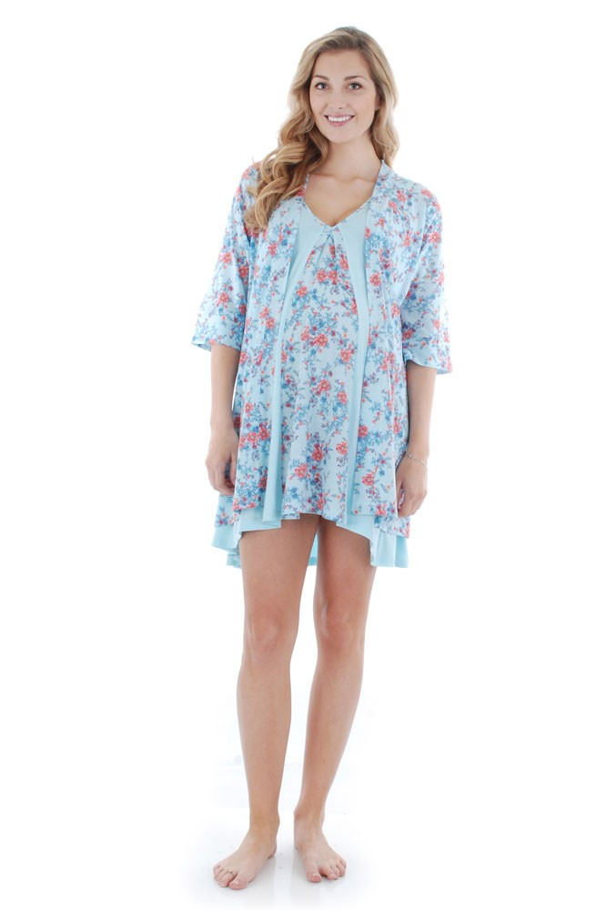 Dawn 4-Pc Nursing Chemise Set with Bra, Robe, & Gift Bag (Azure Mist)
