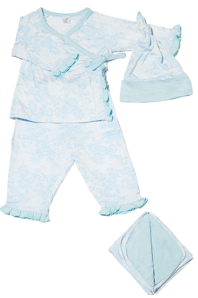 Baby Grey 4-pc. Gift Set (Ruffled Kimono top & Pant, Cap & Blanket) (Blue Chantilly)