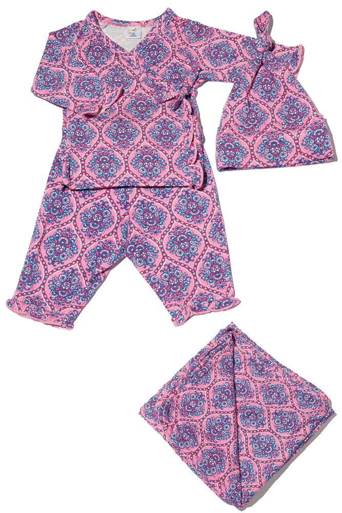 Baby Grey 4-pc. Gift Set (Ruffled Kimono top & Pant, Cap & Blanket) (India Floral)