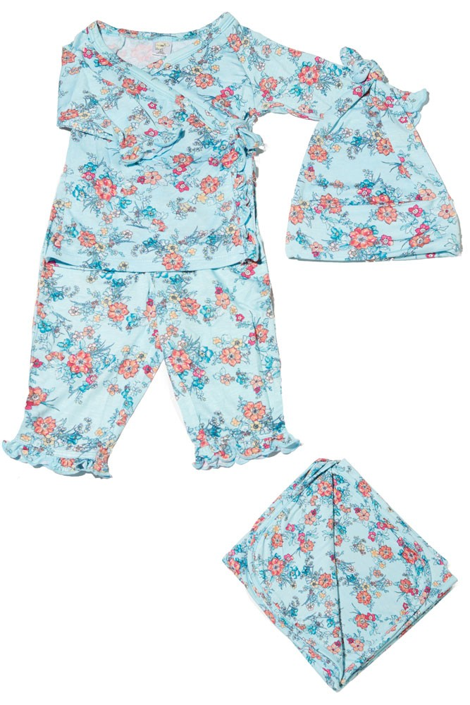 Baby Grey 4-pc. Gift Set (Ruffled Kimono top & Pant, Cap & Blanket) (Azure Mist)