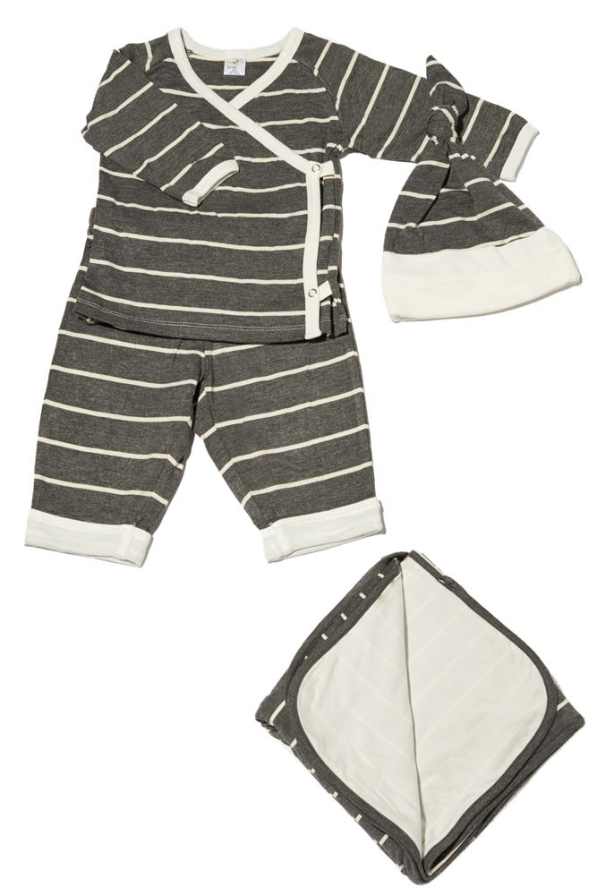 Baby Grey 4-pc. Gift Set (Kimono Top, Cuffed Pant, Cap, & Blanket) (Charcoal Stripes)
