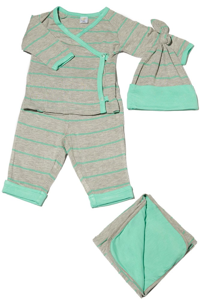 Baby Grey 4-pc. Gift Set (Kimono Top, Cuffed Pant, Cap, & Blanket) (Seafoam Stripes)