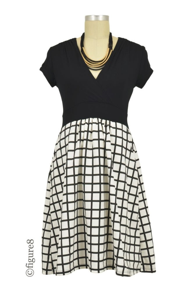 Samantha Nursing-friendly Maternity Dress (Black/White Windowpane)