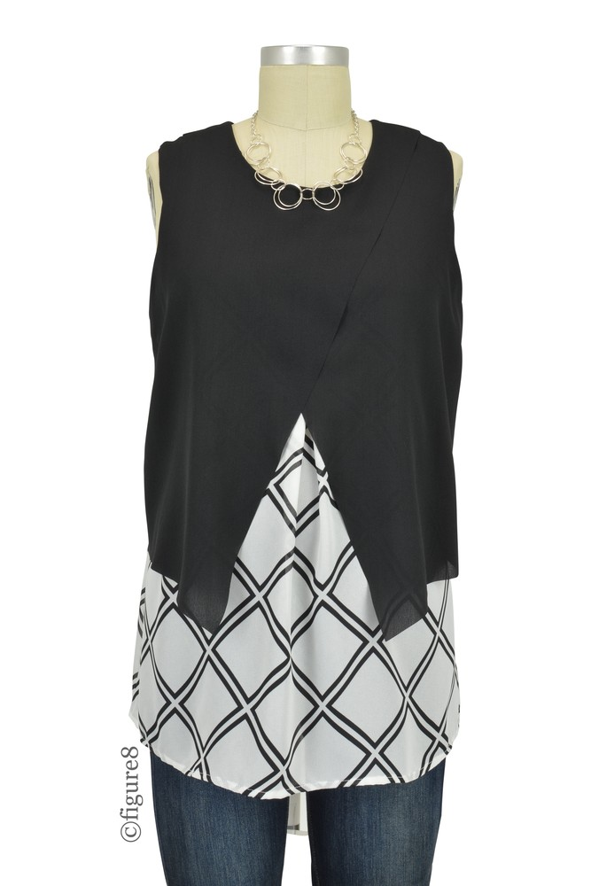 Skyler Crossover Grid Sleeveless Woven Maternity & Nursing Blouse (Black/ Vanilla Grid Print)