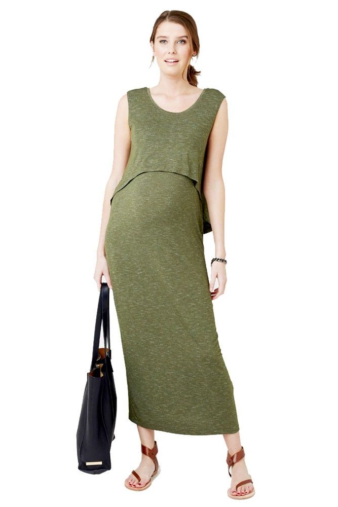 Charlie Swing Back Maternity & Nursing Maxi Dress (Kombi Green)