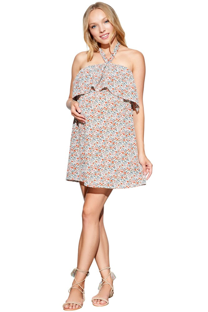 Olivia Halter Maternity & Nursing Dress (Coral Flower Print)
