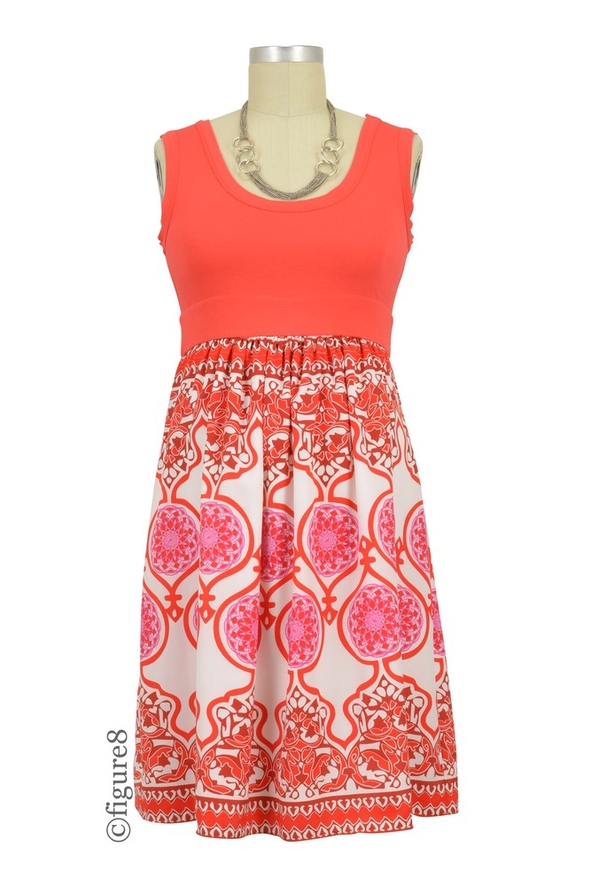 Olian Anne-Marie Maternity Dress (Red Baroque Print)