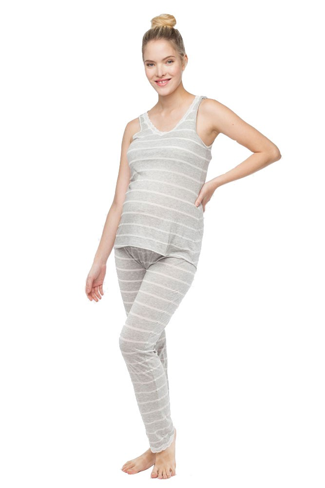 Belabumbum Heather Stripes Maternity & Nursing Cami and Pant Set (Grey Stripes)