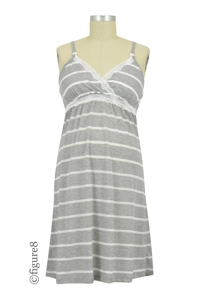 Belabumbum Heather Stripes Maternity & Nursing Chemise (Grey Stripes)