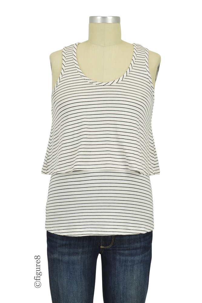 Amelia Layered Maternity & Nursing Tank by Belabumbum (Black Stripe)