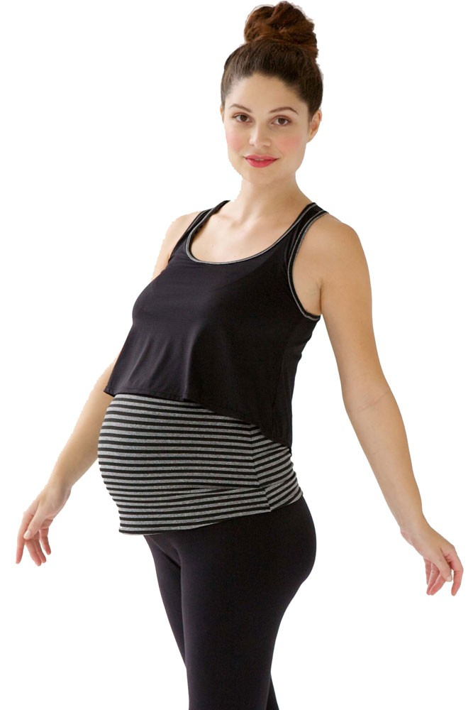 Annie Active Layered Maternity & Nursing Tank (Black/Grey)