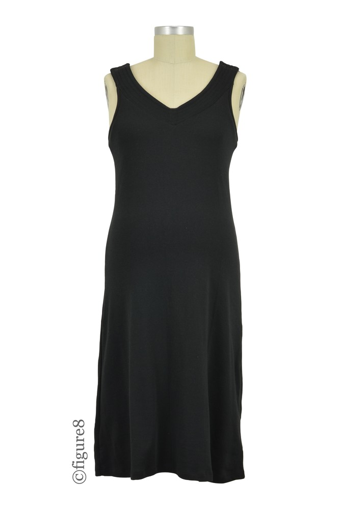 Ariana V-Neck Maternity & Nursing Dress by Belabumbum (Black)