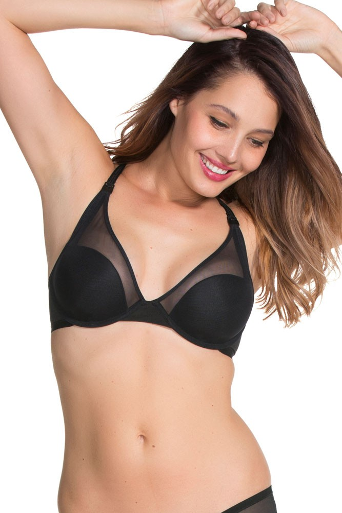 Viva Plunge Flexible Wire Padded Nursing Bra by Charley M (Black)