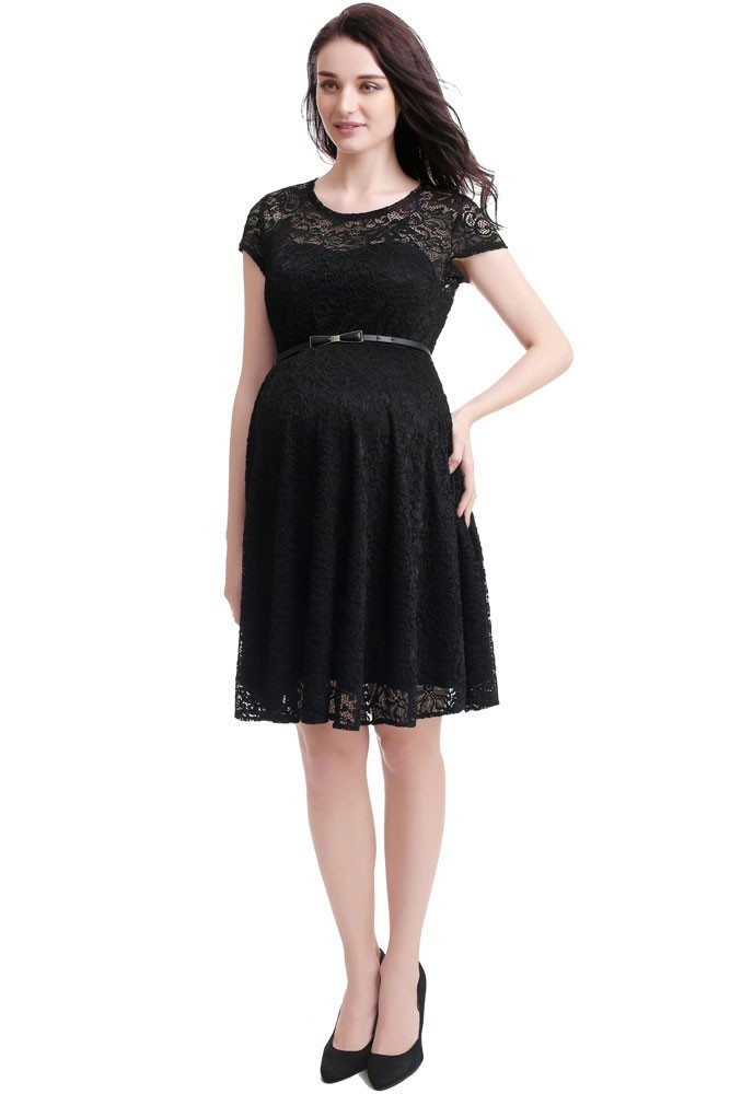 Olena Lace Skater Maternity Dress (Black)